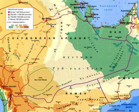 Руб-эль-Хали. Карта
