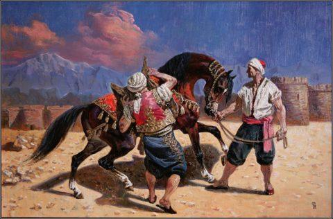 Арабы, седлающие коня у старой крепости